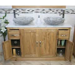 Solid Oak Bathroom Furniture Uk by Solid Oak Bathroom Vanity Unit Cabinet Twin Marble Bowl Basin Tap
