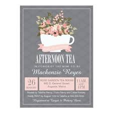 floral teacup afternoon tea baby or bridal shower card zazzle
