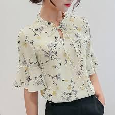 blouse ruffles shop blouses 2018 chiffon print ruffles sleeved