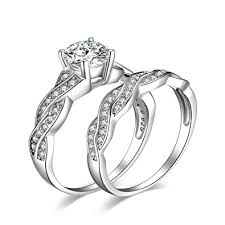 engagement ring and wedding band set jewelrypalace 1 5ct infinity cubic zirconia