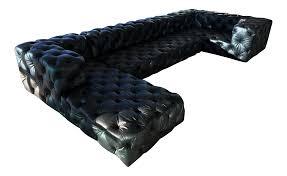 restoration hardware soho tufted sectional ebony italian leather