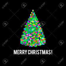 pixel art different colored bright christmas tree on black