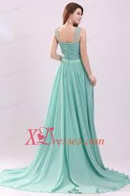 aqua blue empire straps beading green chiffon prom dress with