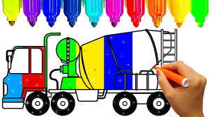 construction truck coloring pages learn colors with mixer truck