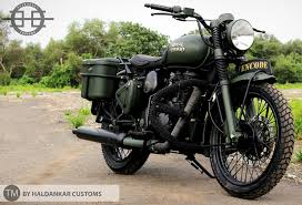 green modified royal enfield buller in military color paint
