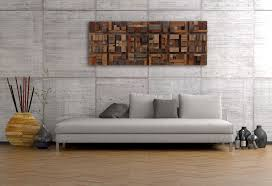 handmade wood wall of geometric shapes reclaimed barnwood by
