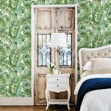 tropical leaf wallpaper palm tree white green a street prints