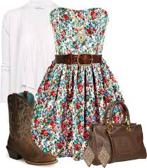 i love this country flowery dress cowgirl boots belt