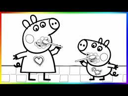 peppa pig george brushing teeth coloring book pages kids fun