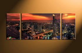 3 piece black evening city group canvas