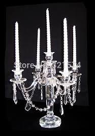 hanging crystals wedding table centerpieces candle holder 5 arms clear