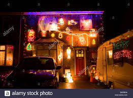 Pictures Of Christmas Lights by Christmas Lights On The Front Of A House In Suffolk Uk Stock