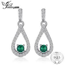 pear drop earrings jewelrypalace elegance 0 4ct pear nano russian simulated emerald