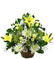 sympathy basket small traditional yellow and white sympathy basket avas flowers