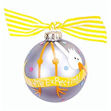 coton colors we re expecting stork glass ornament