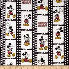 Mickey Home Decor Disney Vintage Mickey Flannel Filmstrip Linear Cream From