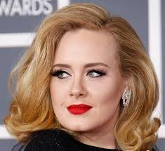 medium length flipped up hairstyles adele medium length honey blonde with a side part and flipped up