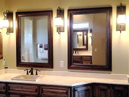 Oak Framed Bathroom Mirrors Double Bathroom Mirrors With White Painted Oak Wood Frame Of