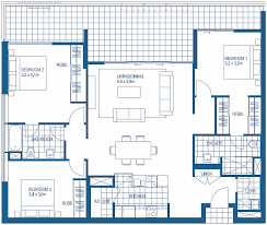 3 bedroom floor plan 3 bedroom floorplans harbour lights cairns apartment floor plans