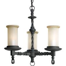 Forged Chandeliers Progress Lighting Santiago Collection 3 Light Forged Black