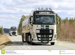volvo highway tractor two volvo fh semi tank trucks convoy along road editorial photo