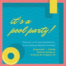 Backyard Birthday Party Invitations Pool Party Invitation Templates Canva