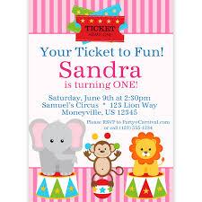 circus carnival invitation ticket pink circus animals