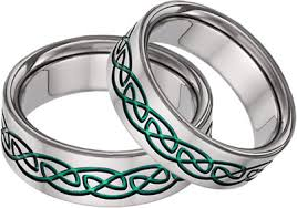 titanium celtic wedding bands green titanium celtic wedding band set
