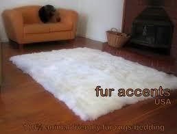 Polar Bear Fur Rug 5x7 U0027 Off White Faux Fur Flokati Sheepskin Area Rug By Fur Accents