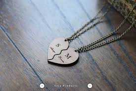 couples necklace images Wooden heart couples necklace with initials and date saja products jpg