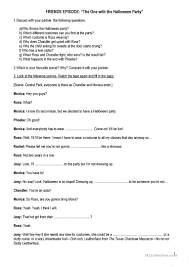 friends tow the halloween party season 8 episode 6 worksheet