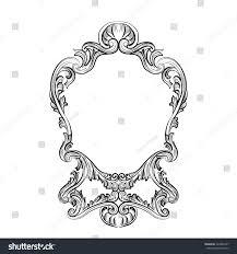 rococo mirror frame decor vector stock vector 424885477