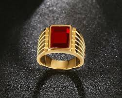 gold stone rings images Men 39 s square red stone rings gold plated steel jewelry bague jpg