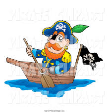 vector clip art of a pirate captain paddling a boat by visekart 355