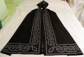 ritual cloak pentagram celtic knot cloak cape black gray pagan wicca