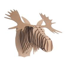 trophee elephant carton tête de cerf orange en carton décoration animale cardboard safa