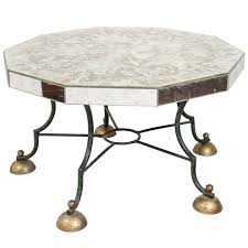 art deco mirrored coffee table with leaf motif attributed to
