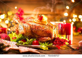thanksgiving dinner thanksgiving turkey served table stock photo