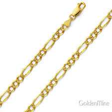 figaro chain necklace images 4 5mm 14k gold yellow pave figaro link chain necklace 18 24in jpg