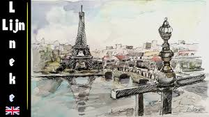 drawing paris and the eiffel tower with pen and water color youtube
