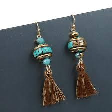 thailand earrings tophanqi wood sculpture drop earrings for women tassel