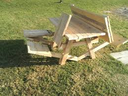 portable rectangle wooden fold up picnic table with folding seats