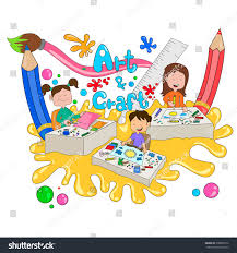 children enjoying summer camp art craft stock vector 398883376