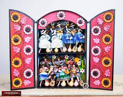 large wood retablo folk sculpture carnival ayacucho