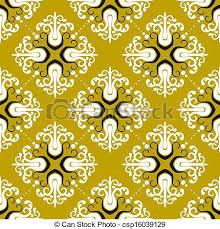 ornamental vintage pattern with damask motifs on gold vector