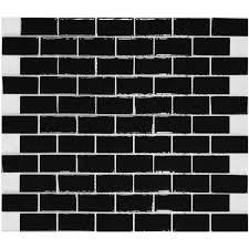 Glass Subway Tile Backsplash Kitchen Liner Wall Brick Interlocking - Black glass subway tile backsplash
