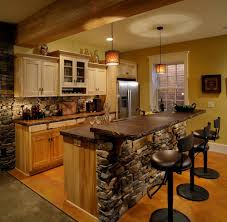 rustic kitchen floor plan with elegant stools and stone island