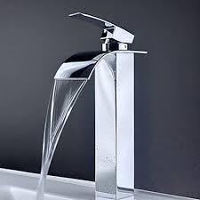 Bathroom Sink Handles Contemporary Brass Waterfall Bathroom Sink Faucet Tall