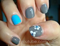 imagenes de uñas pintadas pequeñas tutorial fácil uñas cortas turquesa y gris easy nail tutorial
