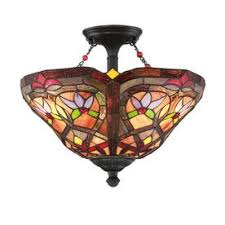 Stained Glass Light Fixtures Shop Flush Mount Lighting At Lowes Com